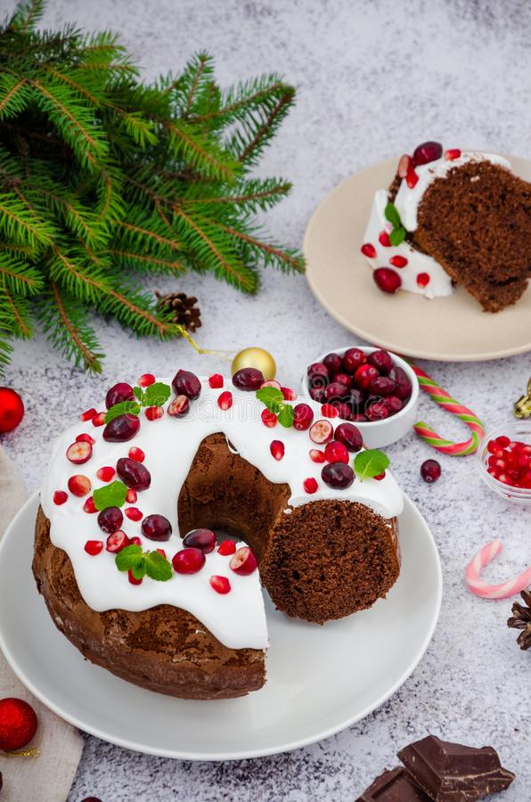 Chocolate cake Christmas wreath with sugar icing, cranberries, pomegranate and mint leaves on top. royalty free stock photo