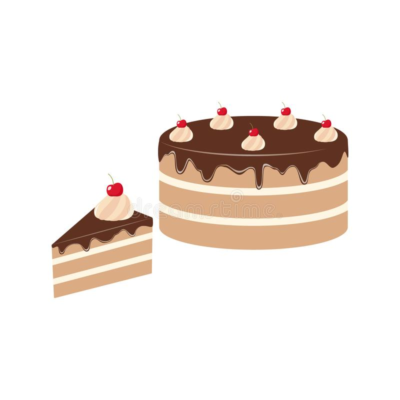Chocolate cake clipart cartoon. Chocolate cake and a piece of cake with cherries. Chocolate cake clipart cartoon. Chocolate glazed cake and a piece of cake with vector illustration