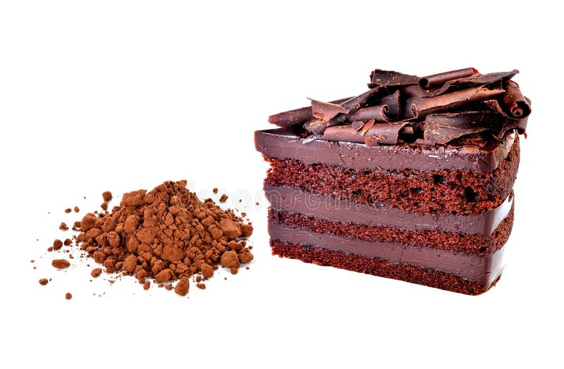 Chocolate cake and cocoa powder royalty free stock images
