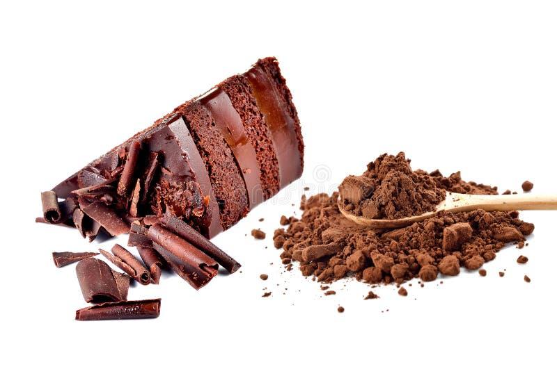 Chocolate cake and cocoa powder stock image