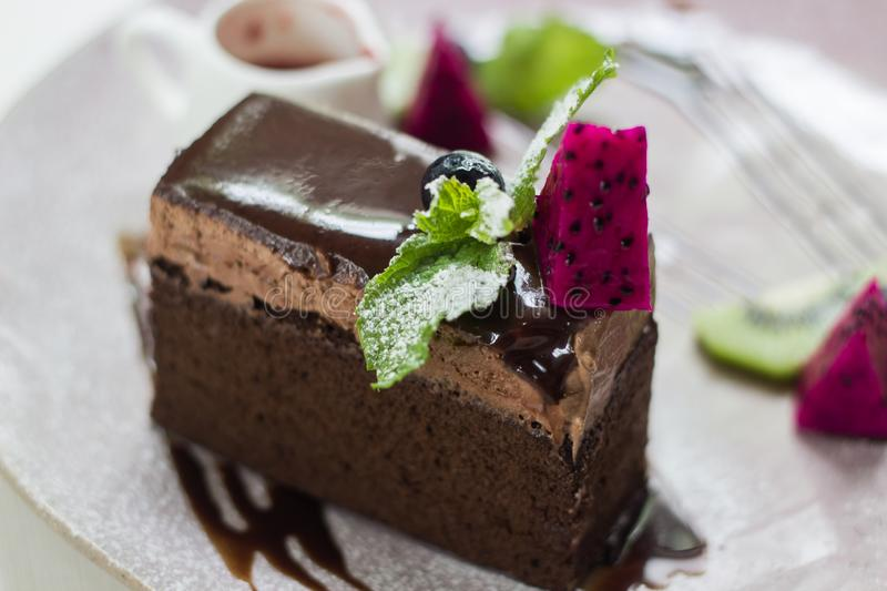 Chocolate cake in the coffee shop stock photo