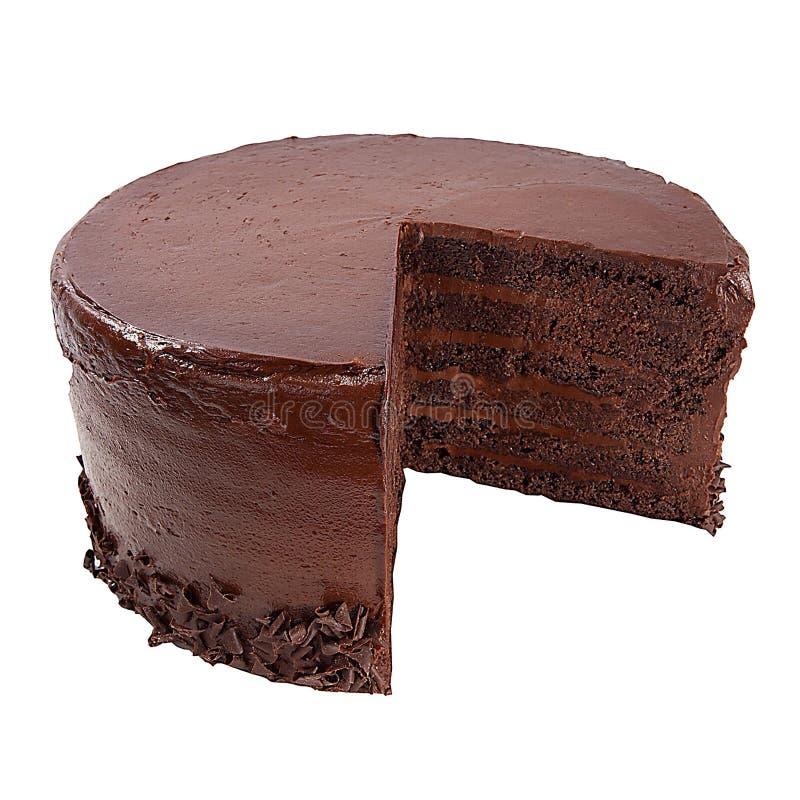 Chocolate cake. Cut chocolate layered cake isolated on a white background royalty free stock image