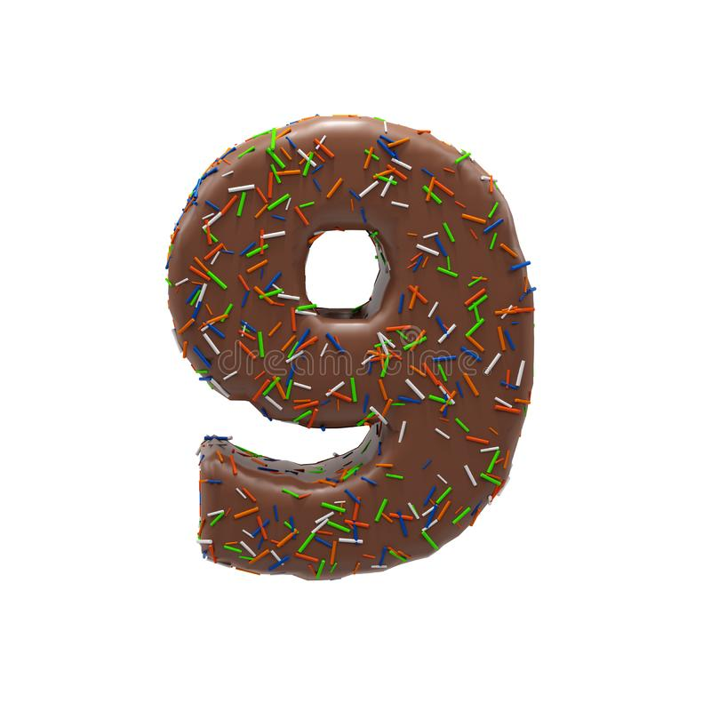 Chocolate Cake Donut Font with colorful sprinkles. Delicious Number 9. 3D render Illustration. stock illustration