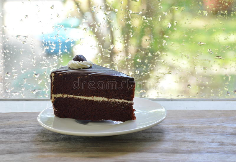 Chocolate cake enjoy for rainy day stock images