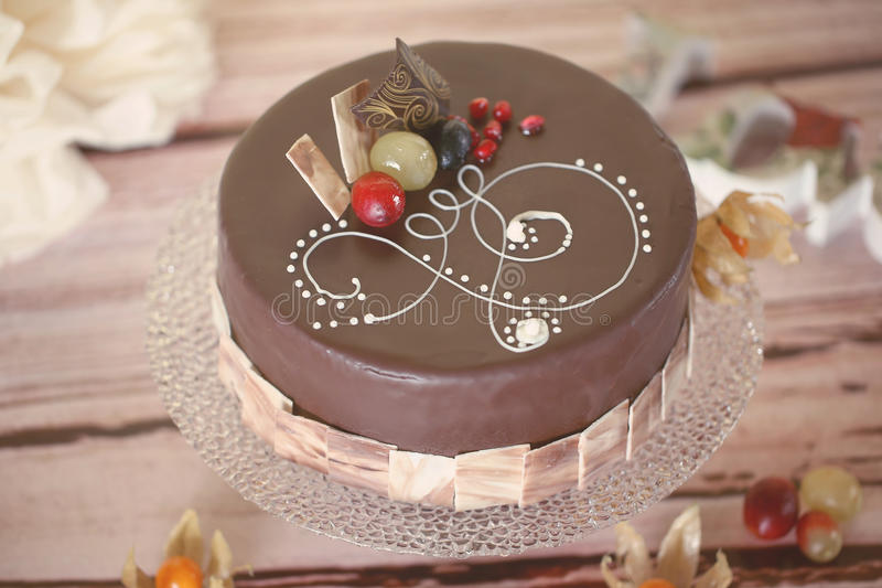 Chocolate Cake. With forest fruits stock photo