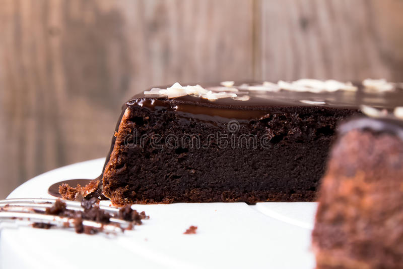 Chocolate cake. With chocolate frosting close-up royalty free stock photography