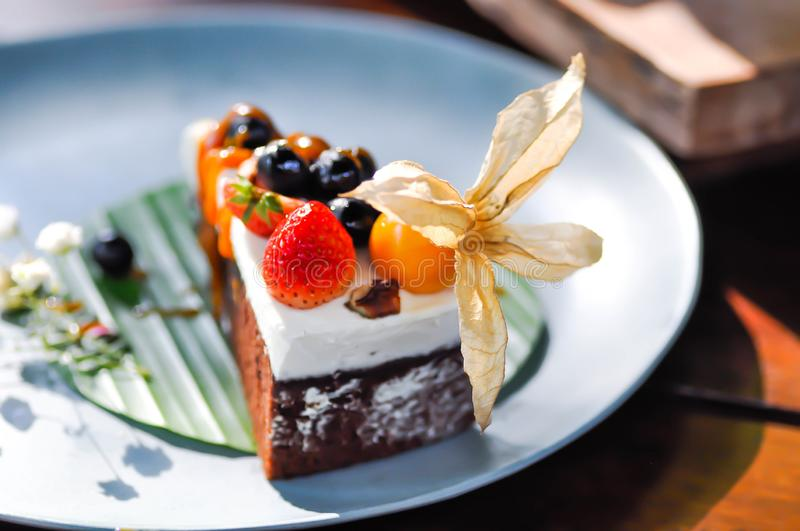 Chocolate cake with fruit topping royalty free stock photo