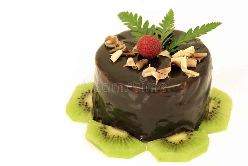 Chocolate cake with kiwi stock image