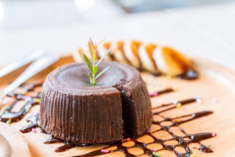 Chocolate cake lava royalty free stock photos