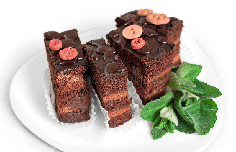 Chocolate cake with mint. On a white plate stock image