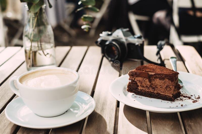 Chocolate Cake Near Milk on Cup stock photo