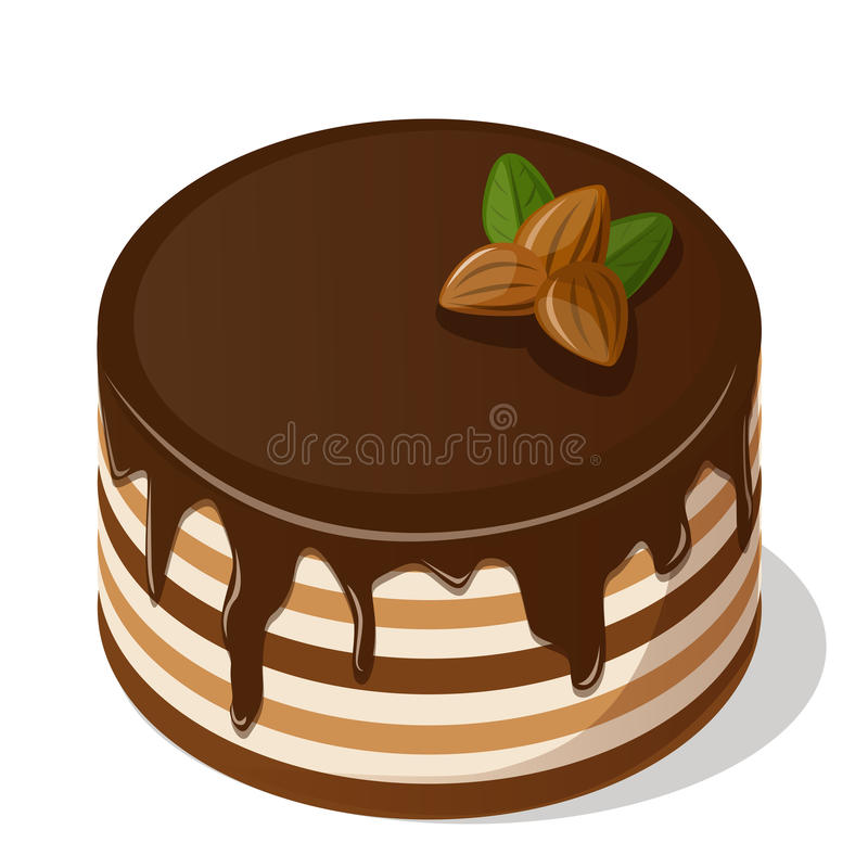 Chocolate cake with nuts. stock illustration