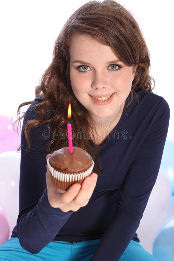 Download Chocolate Cake And Party Candle For Happy Girl Stock Photo - Image: 20898224