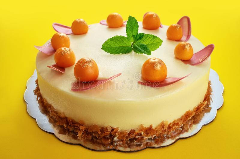 Chocolate cake with physalis fruits, cream, nuts and mint on yellow background royalty free stock photography
