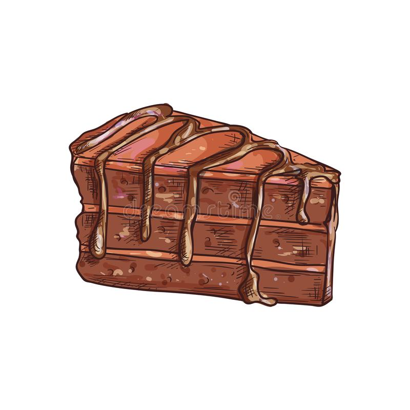 Chocolate cake piece isolated choc dessert sketch vector illustration
