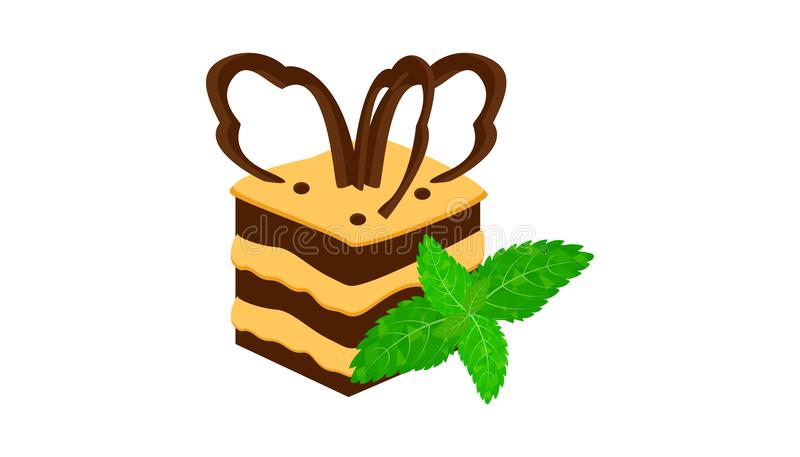 Chocolate cake piece on white background. Vector royalty free illustration