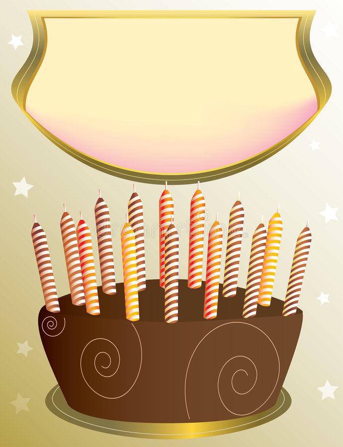 Chocolate cake with placard stock illustration