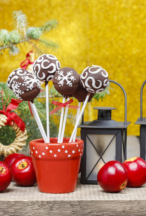 Download Chocolate Cake Pops In Christmas Setting Stock Photo - Image: 38800794