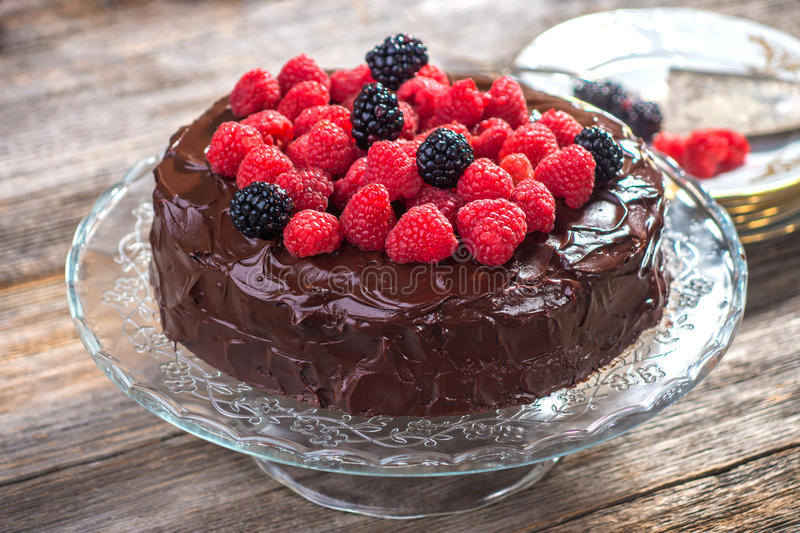 Chocolate cake with Raspberry royalty free stock images