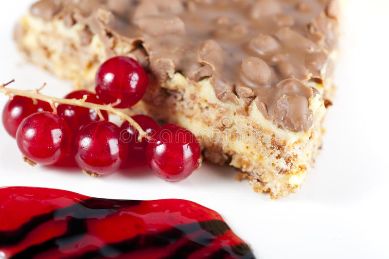 Chocolate Cake And Red Currents Stock Images