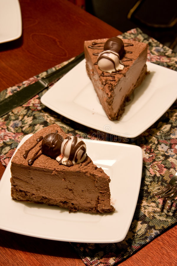Chocolate Cake On A Restaurants Table Stock Photos