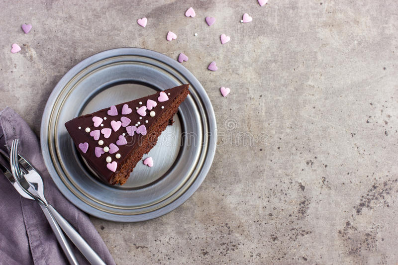 Chocolate cake for romantic dinner on Valentines day stock image