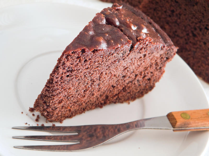 Download Chocolate Cake Slice At Breakfast. Stock Photo - Image: 13466658