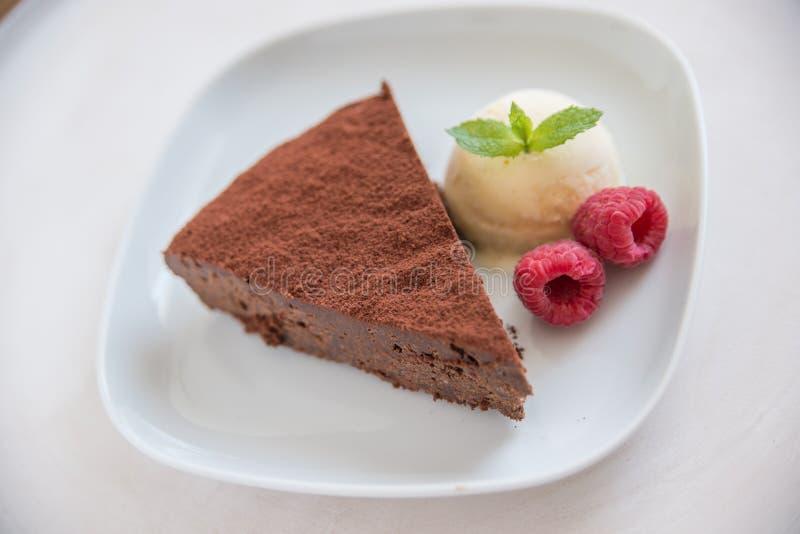 Chocolate cake slice stock images