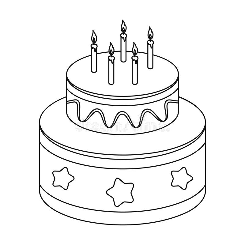 Chocolate cake with stars icon in outline style isolated on white background. Cakes symbol stock vector illustration. Chocolate cake with stars icon in outline vector illustration