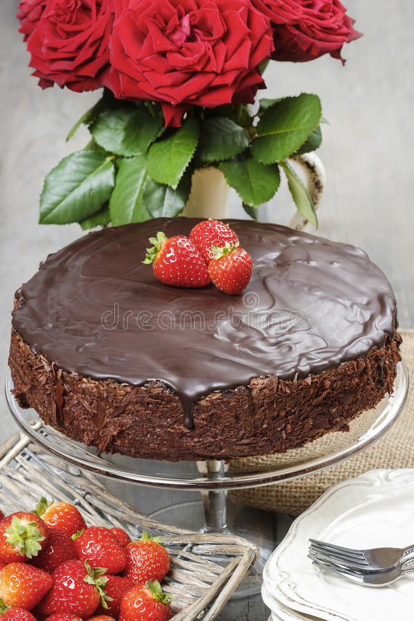 Download Chocolate Cake With Strawberries Stock Image - Image: 39149117