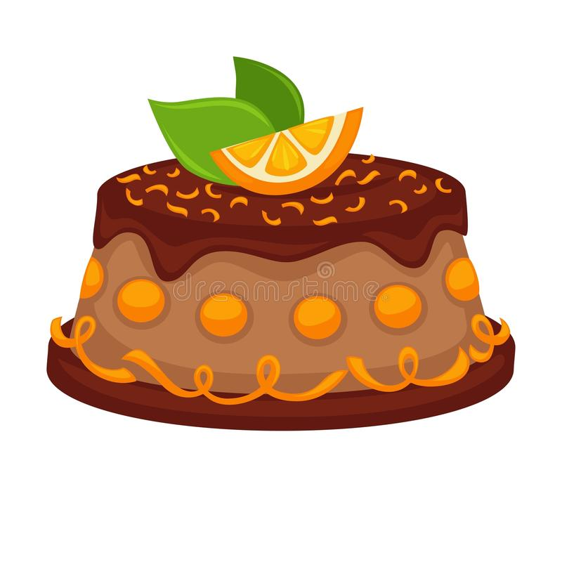 Chocolate cake torte with orange topping vector template icon vector illustration