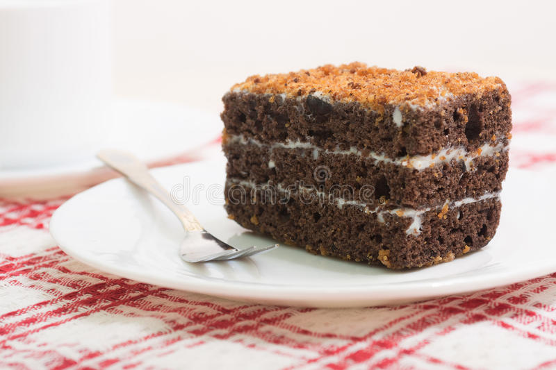 Chocolate cake. On a white plate for dessert stock photo