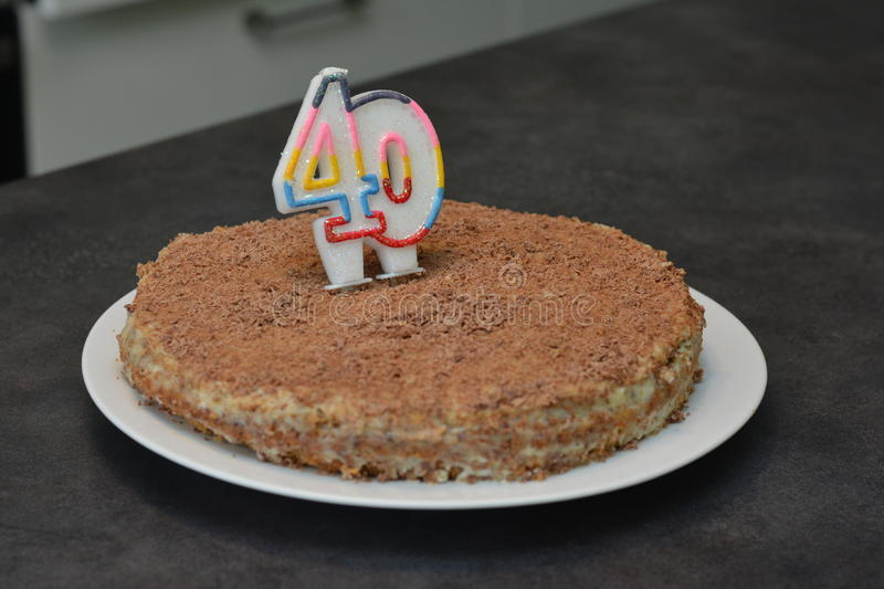 Super Chocolate Cake For 40 Years Old Stock Photo Image Of Eating Funny Birthday Cards Online Kookostrdamsfinfo