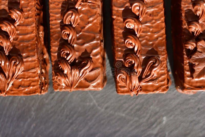 Chocolate cakes background. stock photos