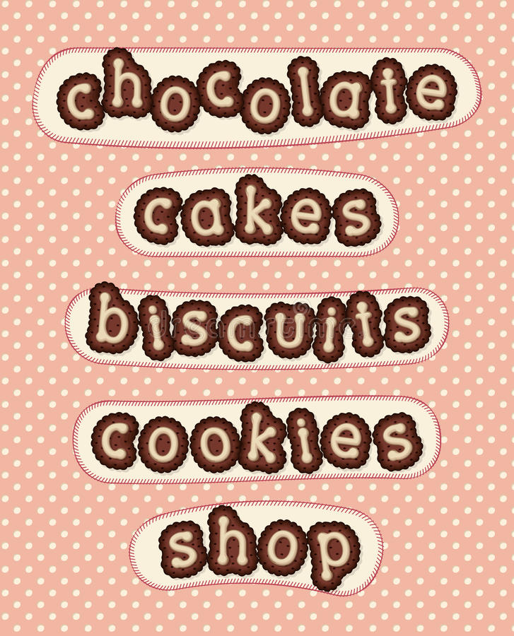 Chocolate, cakes, biscuits, cookies and shop royalty free stock photos