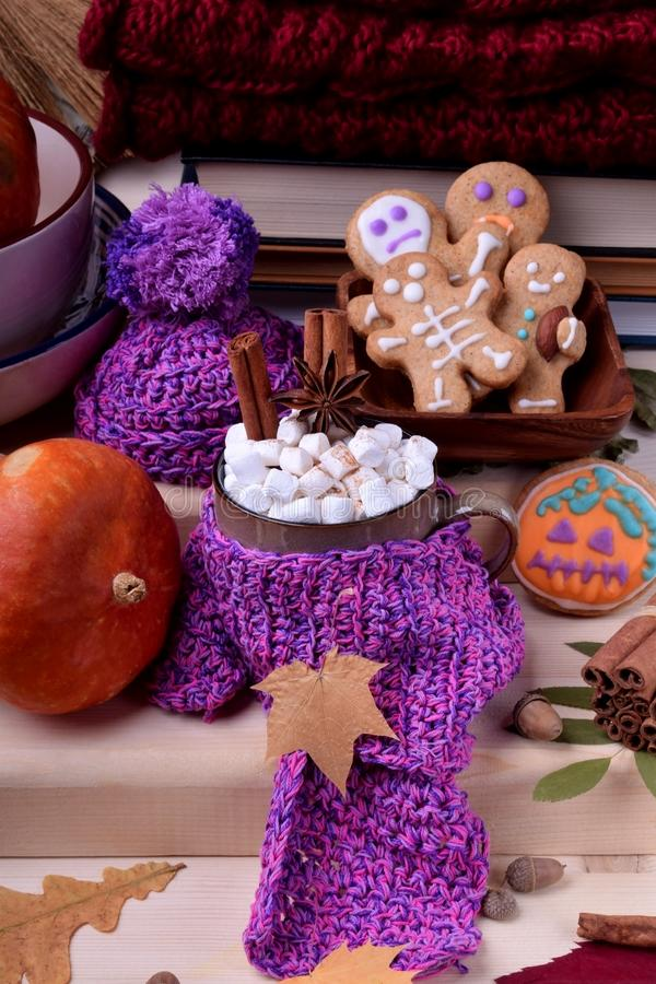 Chocolate caliente con las melcochas, el canela y el anís en una taza envuelta en una bufanda hecha punto fotos de archivo libres de regalías