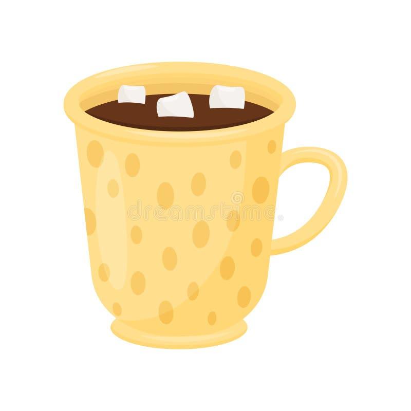 Chocolate caliente con las melcochas en taza amarilla Taza de cacao sabroso Bebida deliciosa Icono plano del vector libre illustration