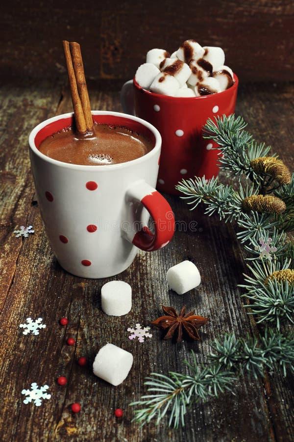 Chocolate caliente, decoraciones de la Navidad y ramas del pino fotos de archivo libres de regalías