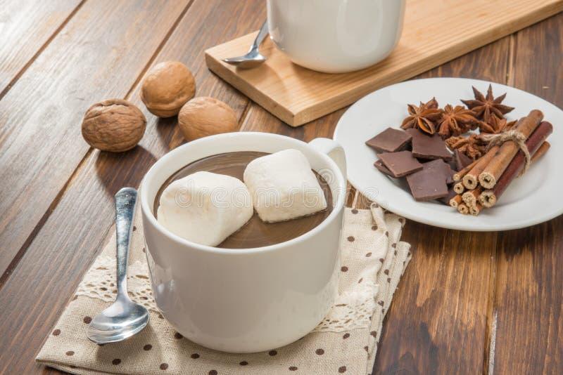 Chocolate caliente y melcocha hechos en casa, especia con la nuez fotos de archivo libres de regalías