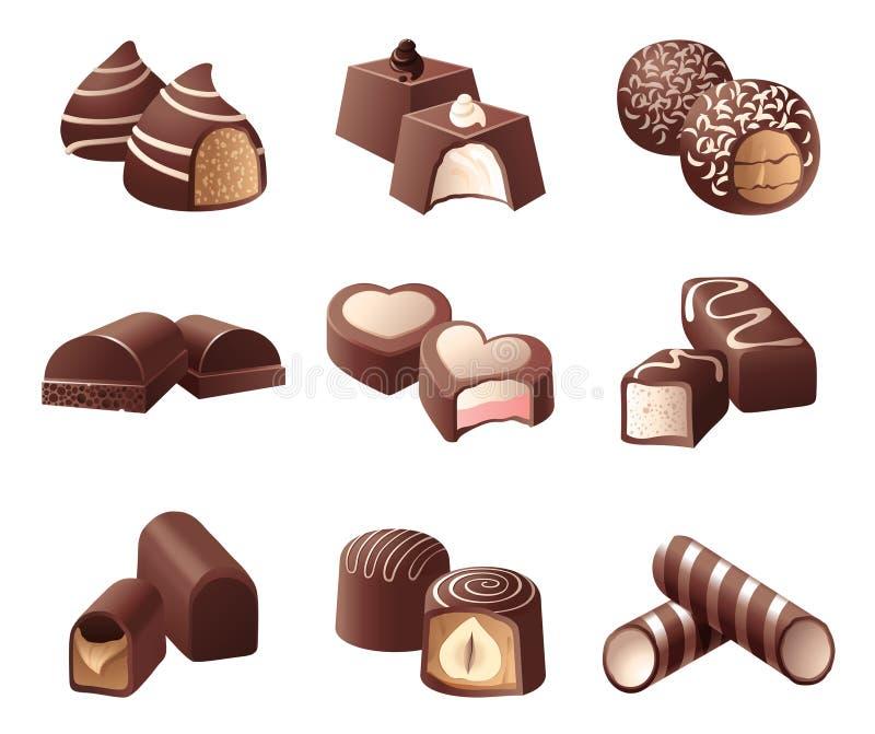 Chocolate candies vector illustration