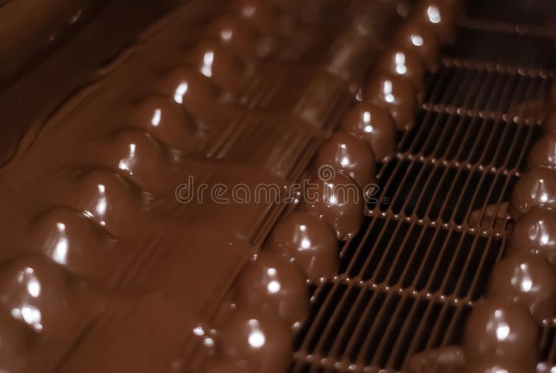 Chocolate candies on the conveyor of a confectionery factory close-up. Chocolates just poured with liquid chocolate on a conveyor belt of a confectionery factory royalty free stock image