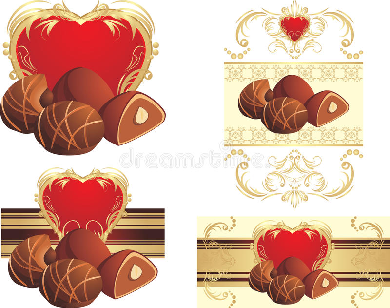Chocolate candies with nuts to the Valentines day vector illustration