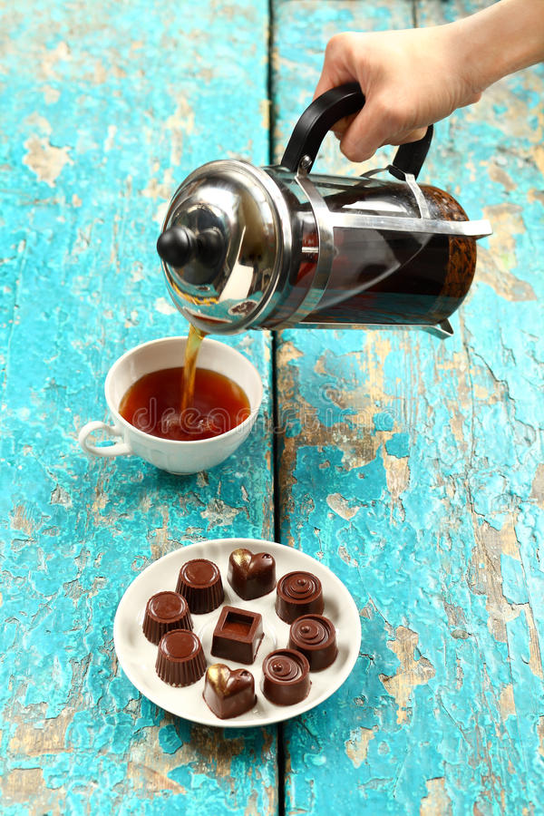 Chocolate Candies on the saucer. stock image