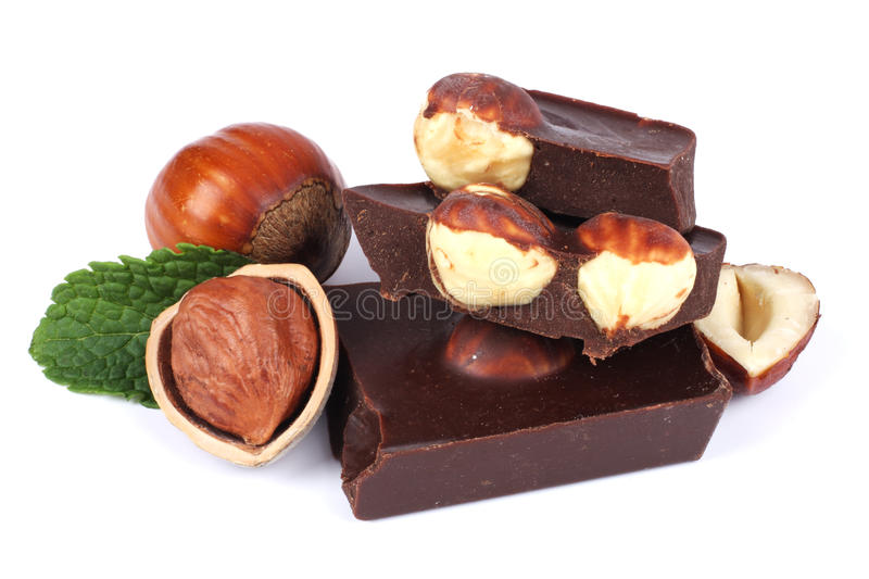 Chocolate candies sweets with hazelnut isolated on white royalty free stock image