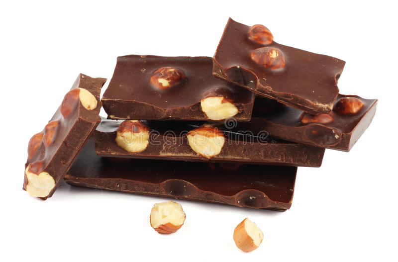 Chocolate candies sweets with hazelnut isolated on white stock photography