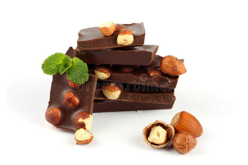Chocolate candies sweets with hazelnut isolated on white stock photo