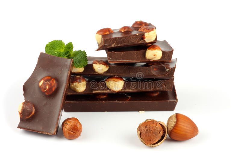 Chocolate candies sweets with hazelnut isolated on white stock images
