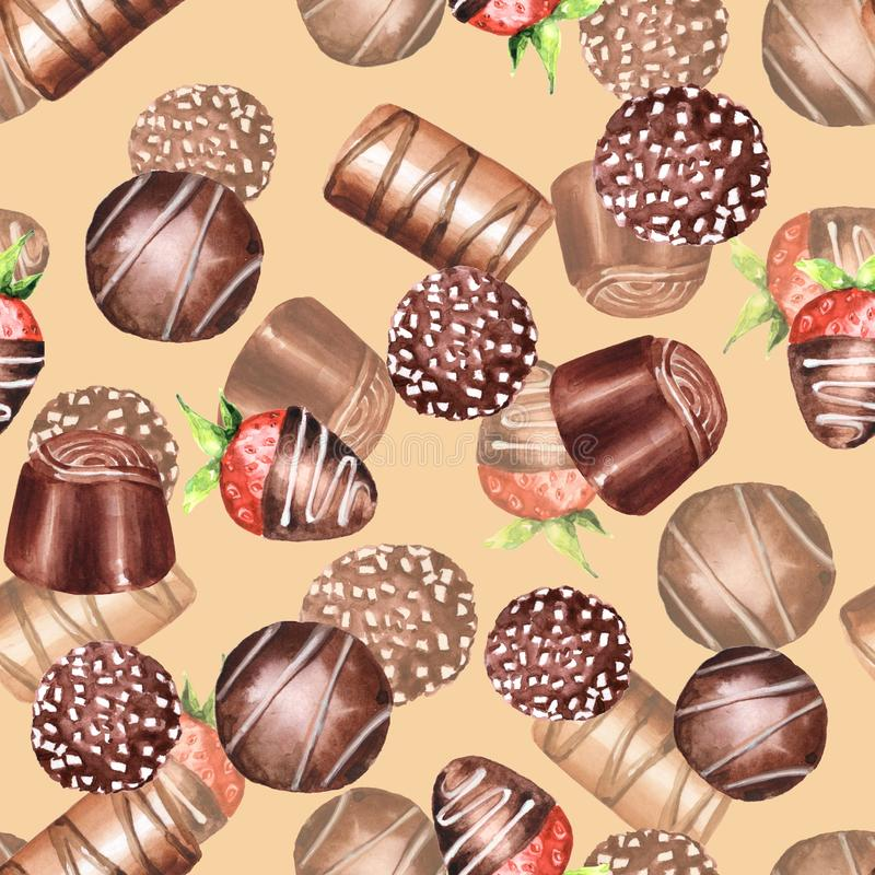 Chocolate candies, watercolor seamless pattern. Hand drawn sweet stock photography