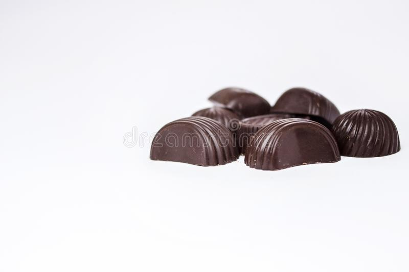 Chocolate candies on a white background royalty free stock photography