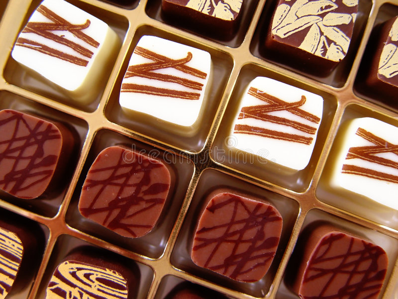 Chocolate candy. Noble candies in a box stock photo